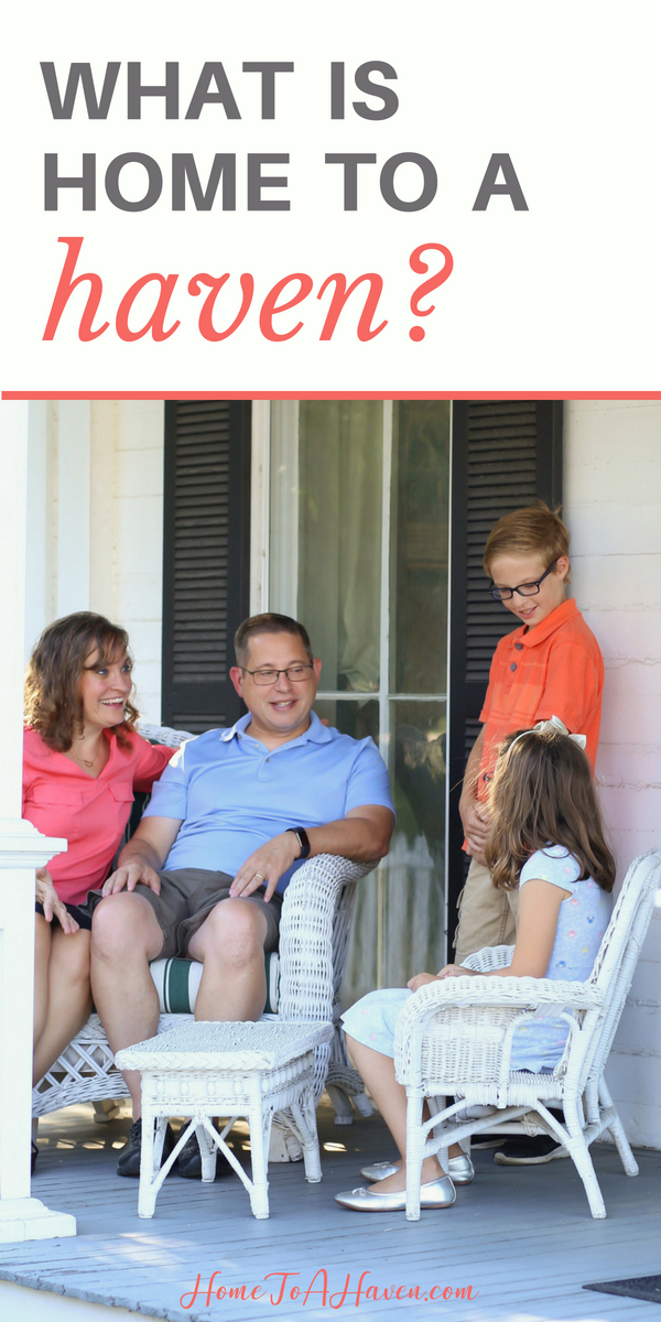Happy family visits on a front porch