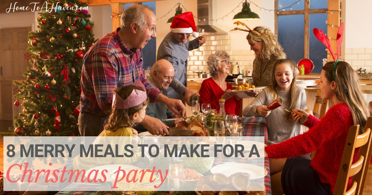 Family gathers at the table for a Christmas feast