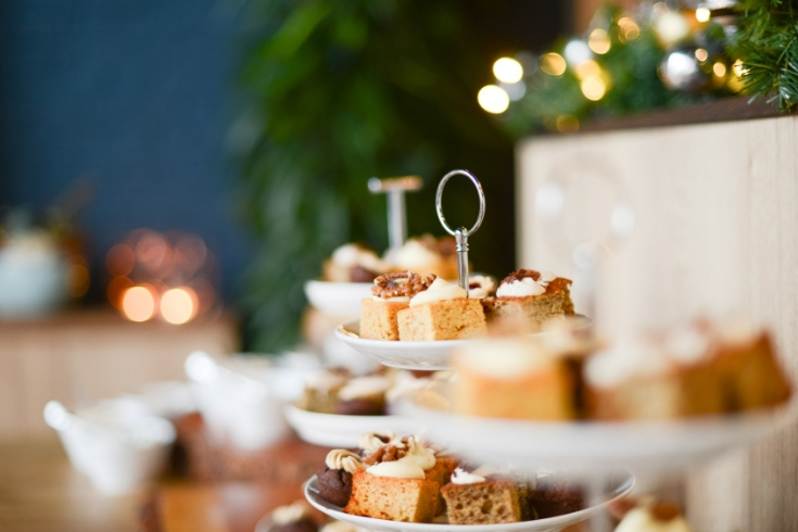 Serving tray is filled with desserts