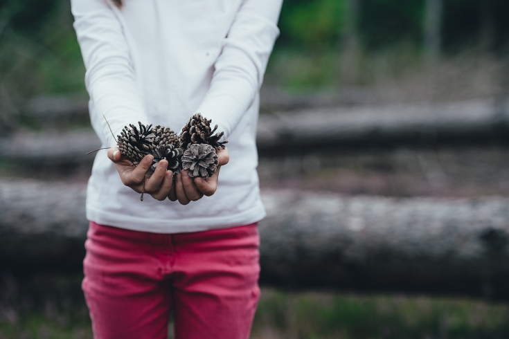 Woman stands outside holding a pinecone